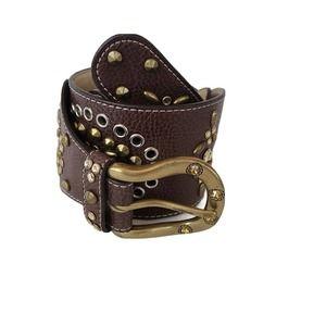 Kathy Van Zeeland Embellished Boho Brown Belt S